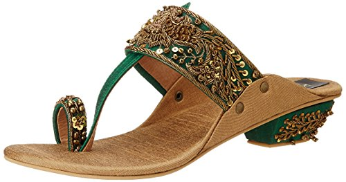Rohan-Arora-Womens-Emerald-Green-and-Dull-Gold-Silk-Kolhapuris-7-UK-RAWK-035-0