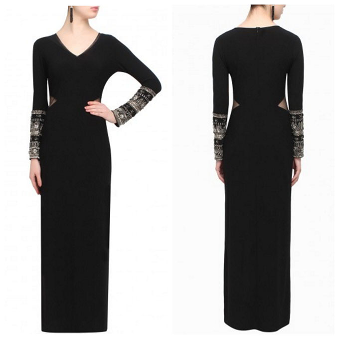 Black Bedazzled Sleeve Dress