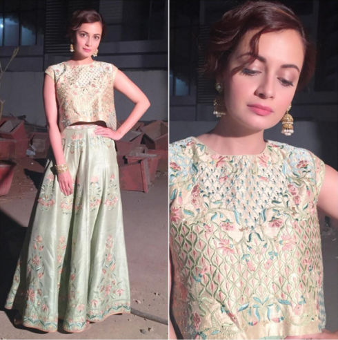 dia-mirza-in-a-sage-green-embroidered-crop-top-and-sharara-by-anita-dongre-bollywood-celebrity-fashion-20161