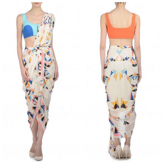 Multicolored Drape Sari